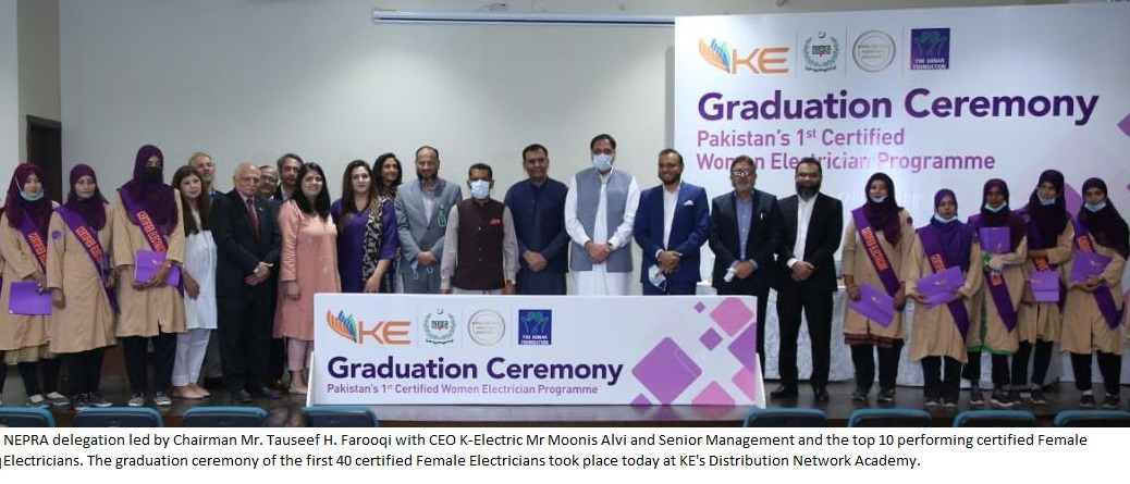 NEPRA delegation led by Chairman Mr Tauseef Farooqi with CEO K-Electric Mr Moonis Alvi and Senior Management and the top 10 performing certified Female Electricians. The graduation ceremony of the first 40 certified Female Electricians took place today at KE's Distribution Network Academy.